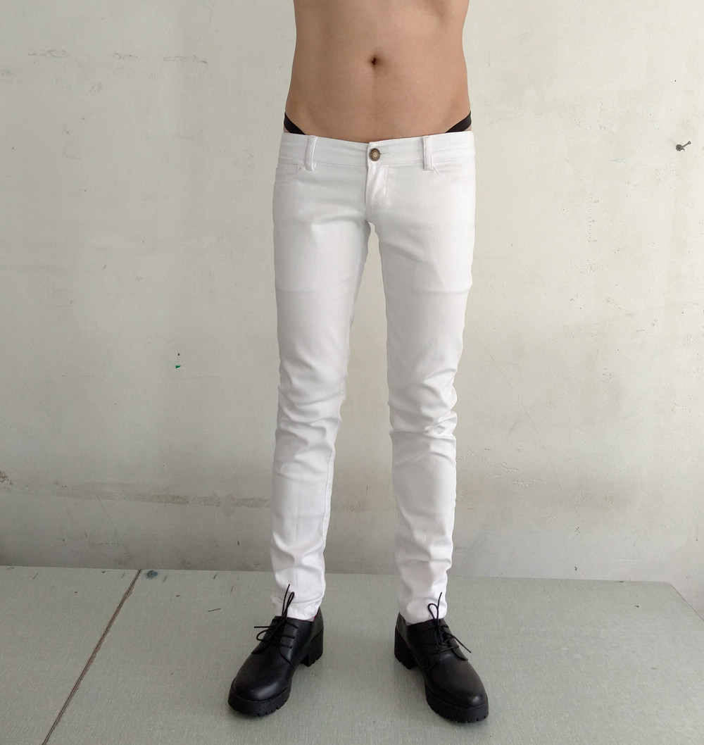 2553 high stretch mens ultra low waist Slim Pencil PANTS LEGGINGS black and white tight elastic blue denim