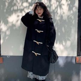 大码女装2019新款日系韩风宽松长款牛角扣毛呢大衣胖mm显瘦长外套