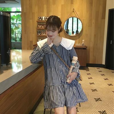 大码女装2020春夏新韩版宽松显瘦少女系格子衬衫娃娃领减龄连衣裙