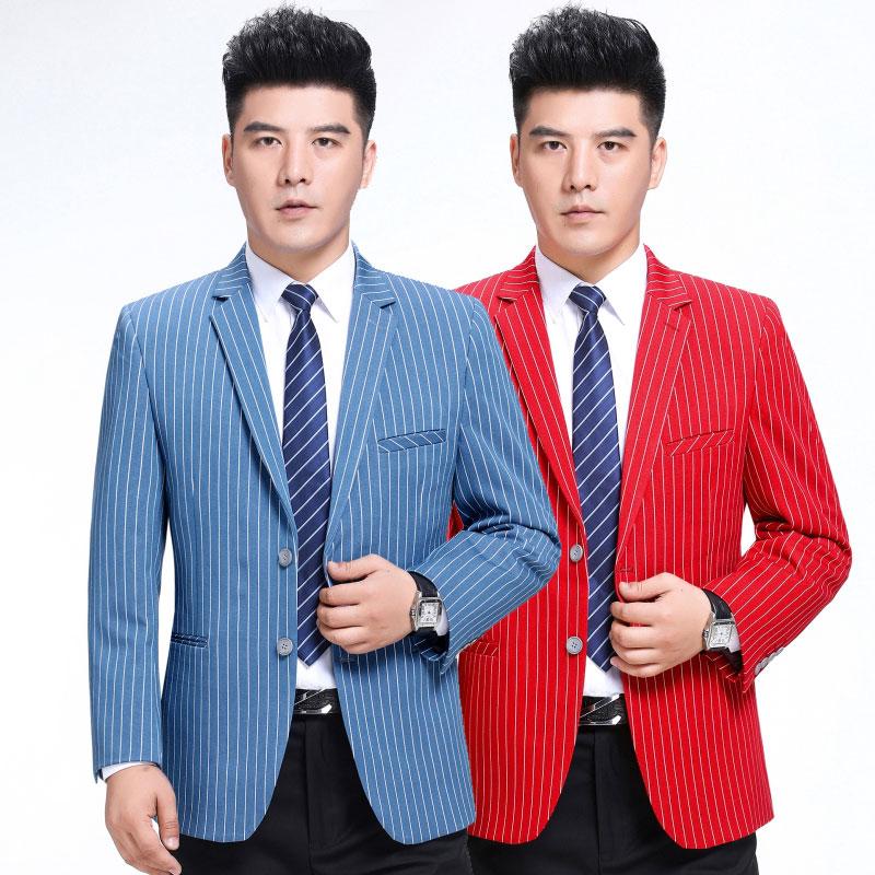春秋新款大红色竖条纹羊毛西装中年男装休闲潮流大码西服单西外套