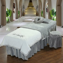 欧式简约刺绣春夏水晶绒美容床罩四件套洗头按摩床可定制LOGO图片