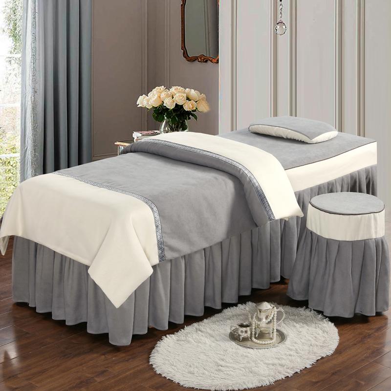 简约高档美容院床罩四件套棉麻网红理疗按摩床单床套带洞定制定做