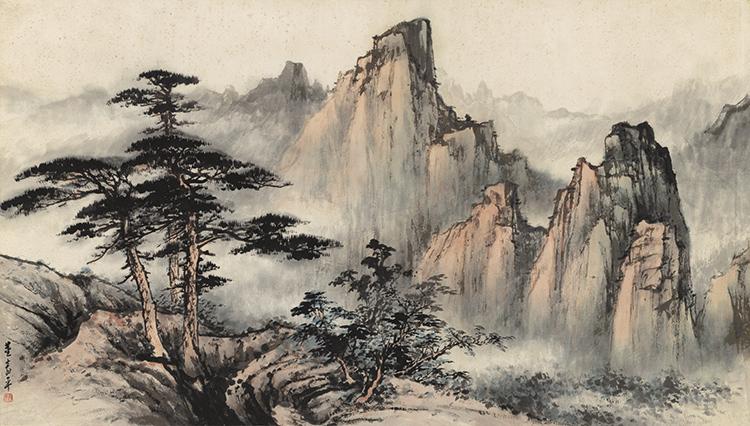 董寿平黄山国画山水四尺横幅复制画(用1元券)