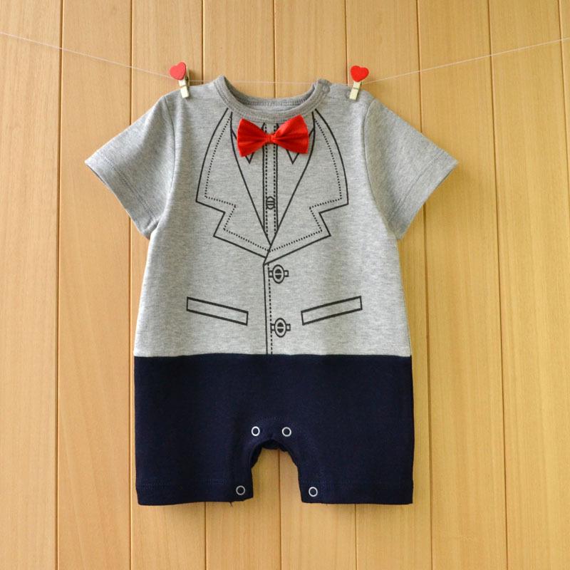 Baby мальчик детское платье с коротким рукавом летом платье хлопка ребенка сиамские одежды ходьбы платье ребенка достигает возраста