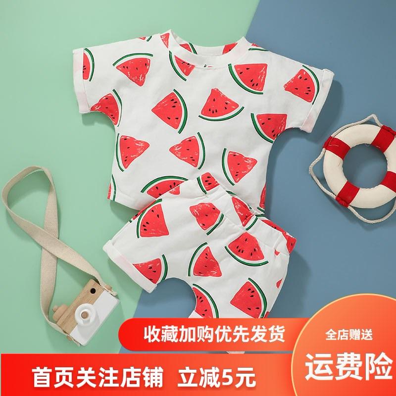 韩范外贸夏季新款婴儿短袖上衣短裤两件套西瓜印花套装宝宝