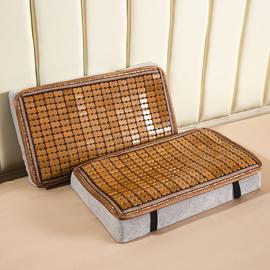 麻將涼席枕頭套夏季記憶枕乳膠枕枕套碳化竹片記憶棉枕墊枕片枕巾圖片