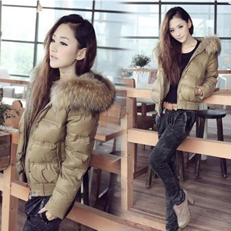 Korean autumn and winter new hooded down jacket womens super large real hair collar short thick slim coat small jacket
