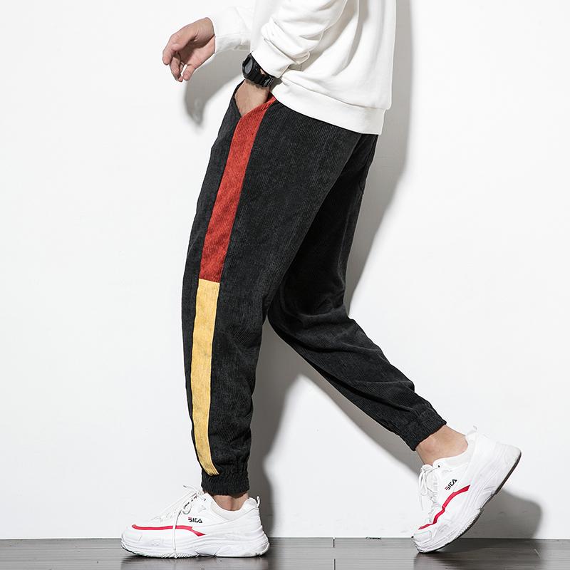 2019秋装拼色灯芯绒休闲裤男大码小脚裤 K320P35 黑色