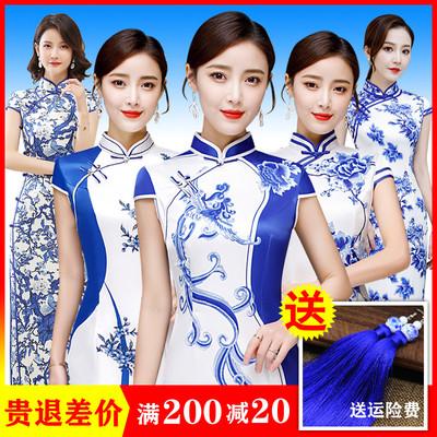 青花瓷旗袍中国风短袖改良女连衣裙走秀演出优雅日常长礼服夏大码