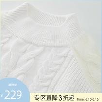 【商场同款】糖力女装冬季新款灯笼袖半高领麻花羊毛针织连衣裙女