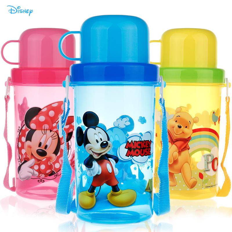 兒童水壺 小學生水瓶防漏背帶帶蓋直飲迪士尼寶寶水壺兒童水杯