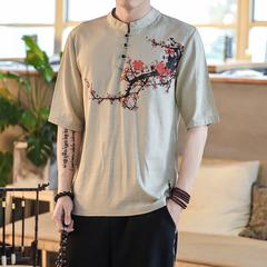中国风春夏新款棉麻亚麻短袖衬衫男士T恤C55-P55