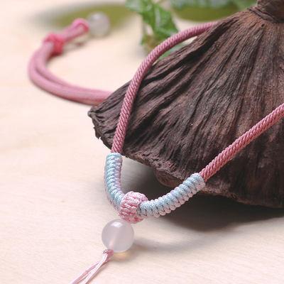 原创手工编织绳翡翠玉佩吊坠挂绳男女款可调节高档金刚结项链绳子