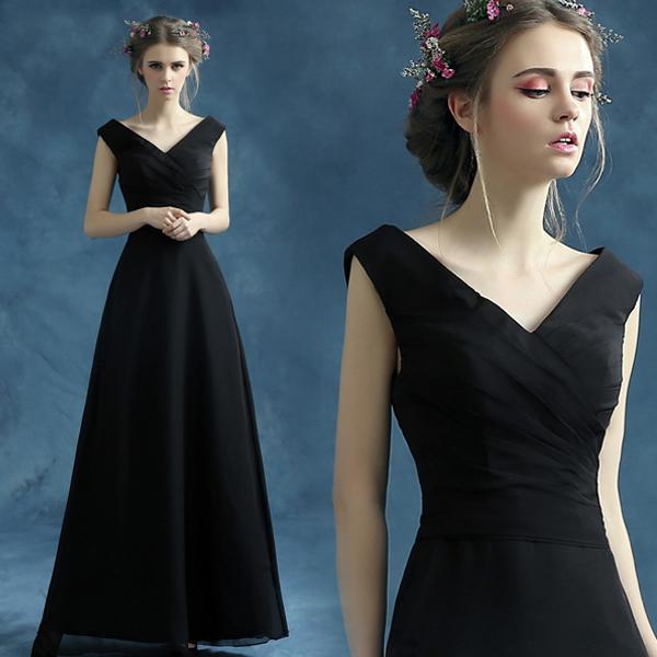 天使嫁衣 高贵气质 黑色生日派对晚宴年会主持人婚纱礼服批发1592限100000张券