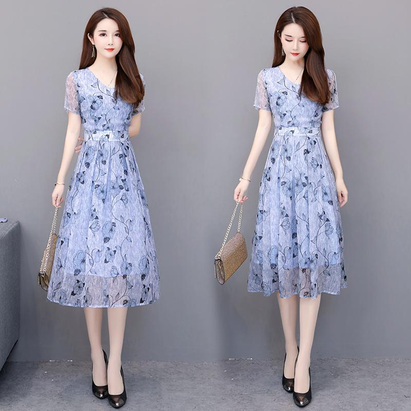 2020夏装新款30-40-50岁中年妈妈女装大码修身显瘦中长款连衣裙子