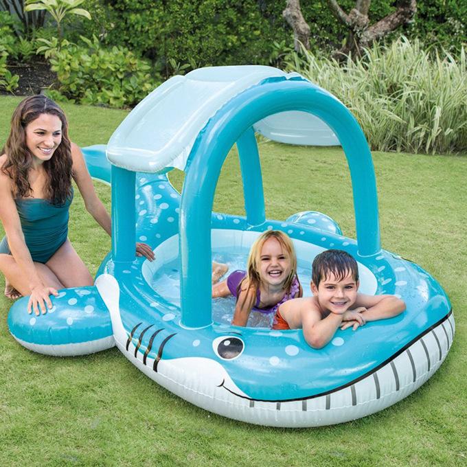 满145.00元可用1元优惠券intex出口遮阳蓬充气鲸鱼戏水池