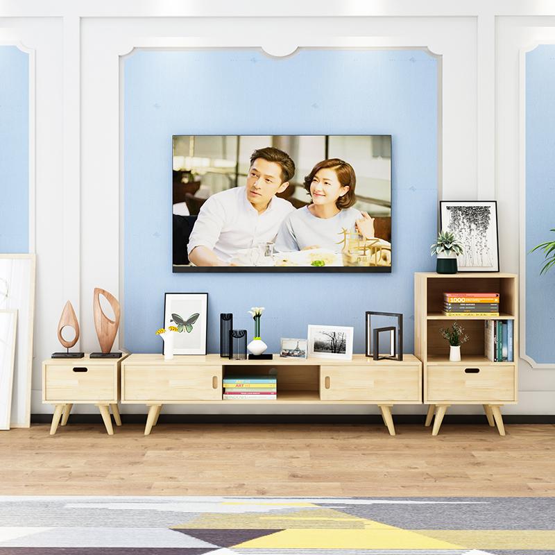 板式北欧卧房长条迷你组合式简单原木色实木时尚田园电视柜大厅