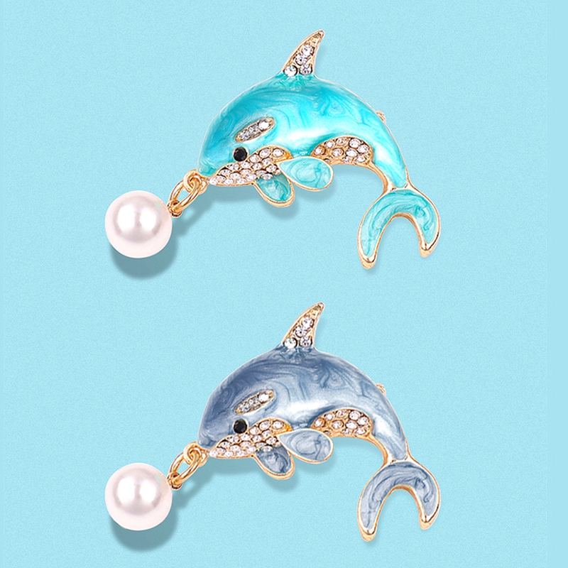 Dolphin pin buckle luxury temperament Brooch high grade Japanese cute fixed coat enamel original personality accessories