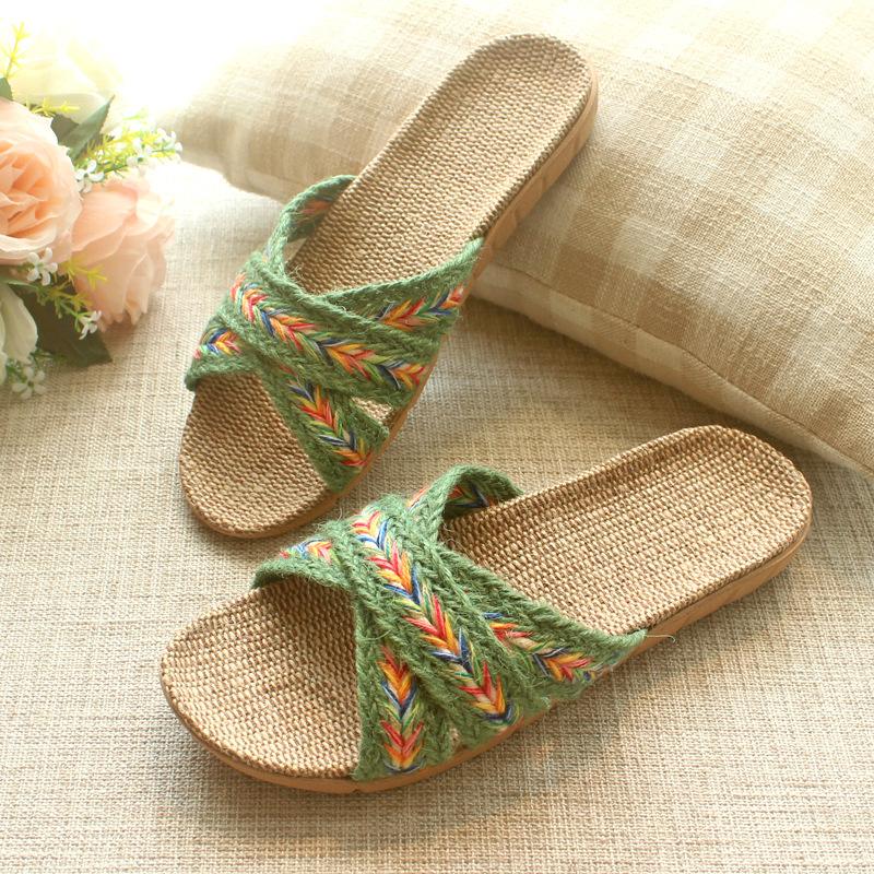 日式纯亚麻居家女士拖鞋透气轻便室内防滑软底家用防臭凉拖鞋夏天