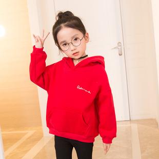 女童红色儿童女加绒加厚2018卫衣