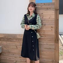 胖妹妹泫雅风裙子超仙秋装2019新款潮大码女装胖mm显瘦遮肉连衣裙
