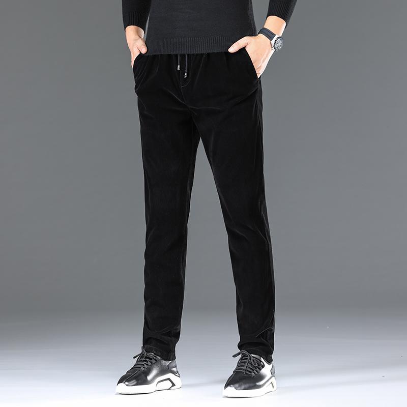 男士休闲裤秋冬季灯芯绒爸爸裤子男成熟老板裤中老年男松紧腰长裤