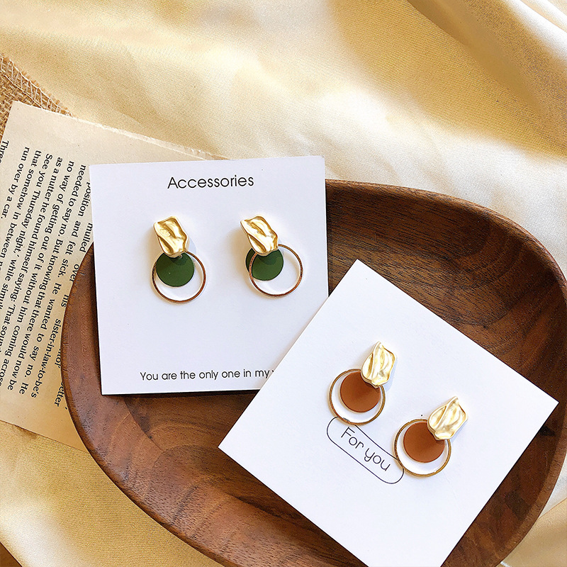 South Korea east gate green irregular Square Circle Earrings small crowd design extremely simple wind Earrings