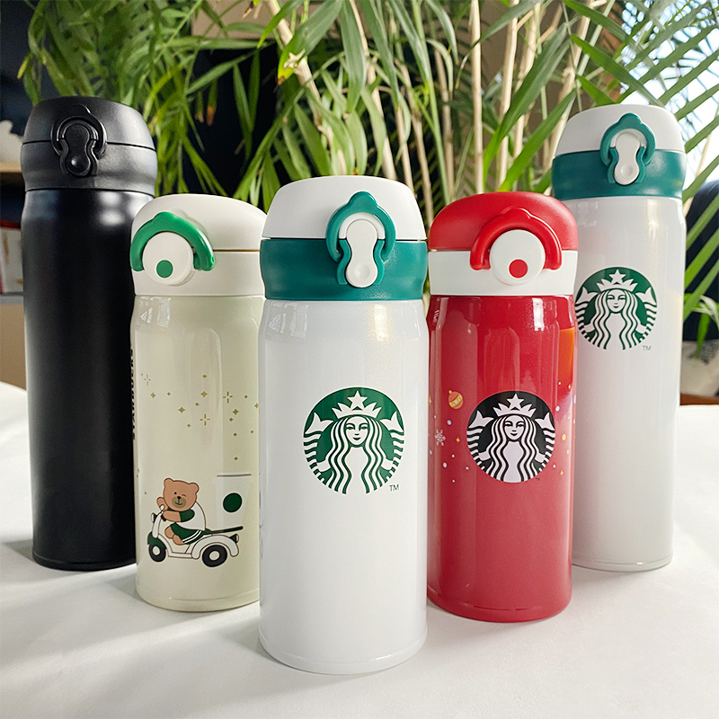 Starbucks thermos cup for male and female students Cherry Blossom Portable small water cup lovely Chinese net red coffee couple accompanying cup