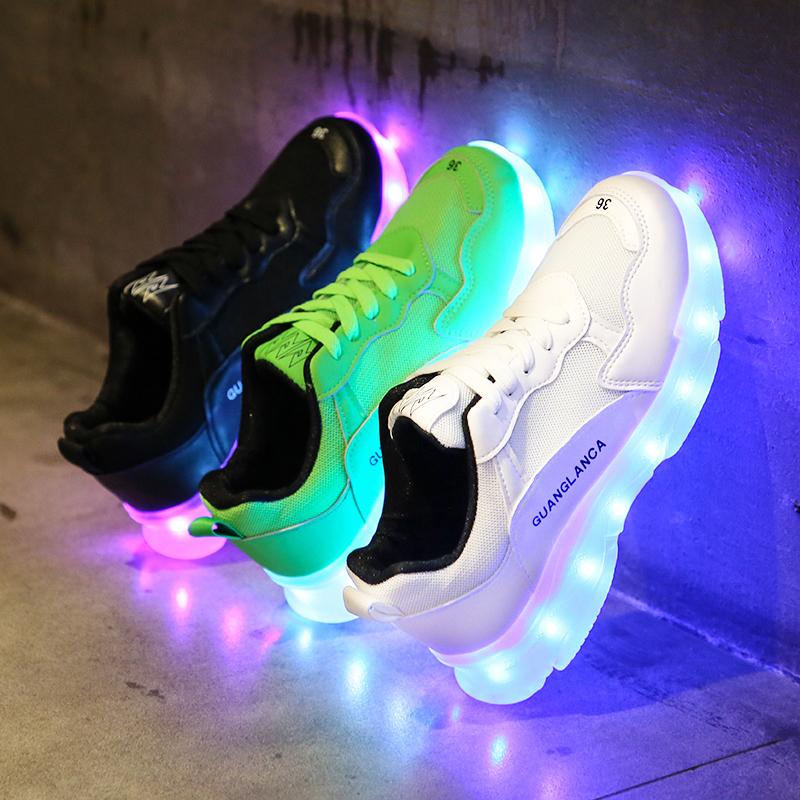 老爹充电发光鞋女鬼步鞋灯光运动鞋