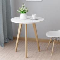 查看实木茶几白色小圆桌简约美式咖啡桌迷你北欧阳台边几角几休闲边桌价格