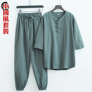 中国风亚麻短袖男t恤套装夏季宽松