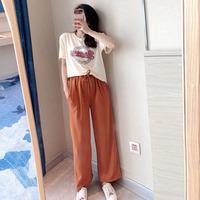【99FANQIE】雪梨套装钱夫人韩版宽松圆领印花t恤女短袖+阔腿裤潮