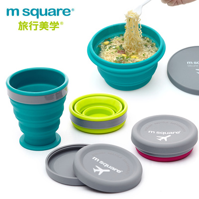 Food Grade Silicone Folding Bowl Microwave Traveling Children's Portable Lunch Box with Lid Outdoor Picnic Camping Tableware