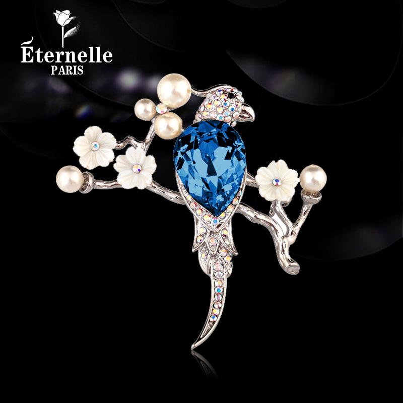 Original design flower bird Crystal Brooch female retro Chinese style semi gem Brooch cheongsam Hanfu accessories