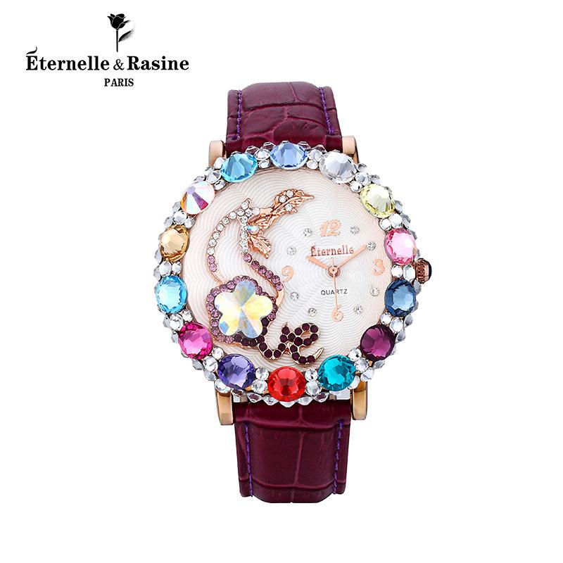 法国Eternelle奥地利水晶腕表 欧美时尚配饰时装手表石英表送女友