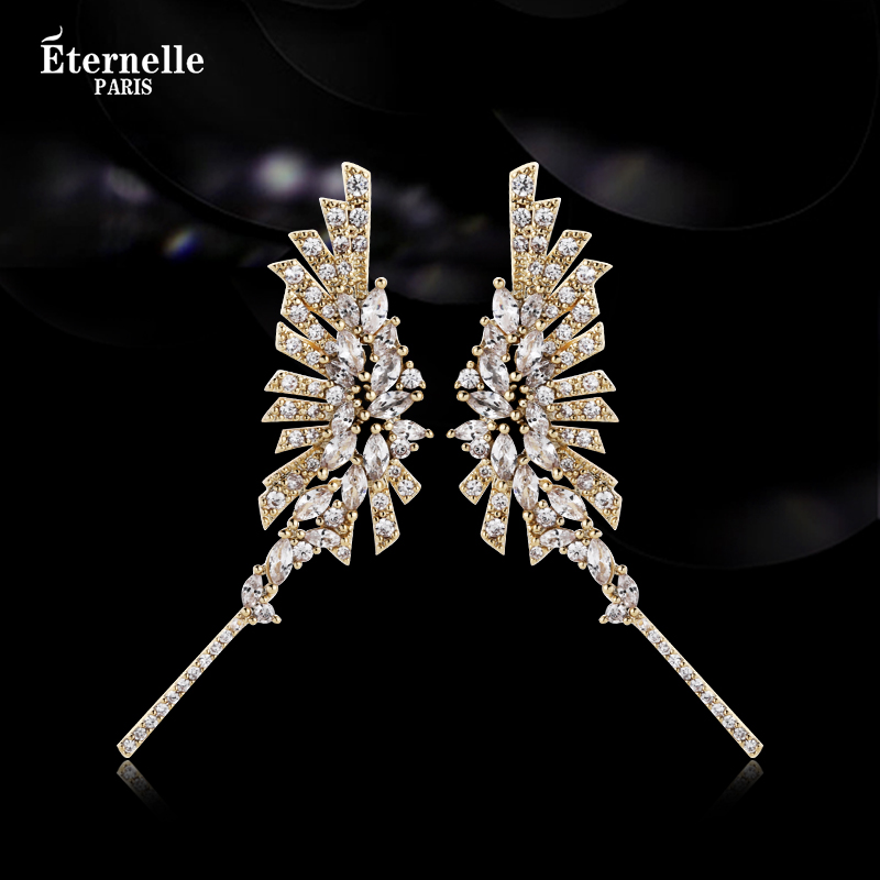 French eternal original design angel wing Earrings European and American fashion accessories unique crystal earrings
