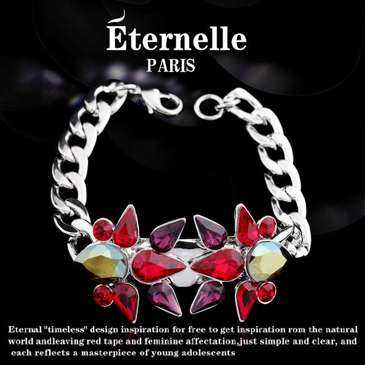 法国Eternelle红色半宝石手链欧美夸张时装配饰品水晶手饰腕链潮