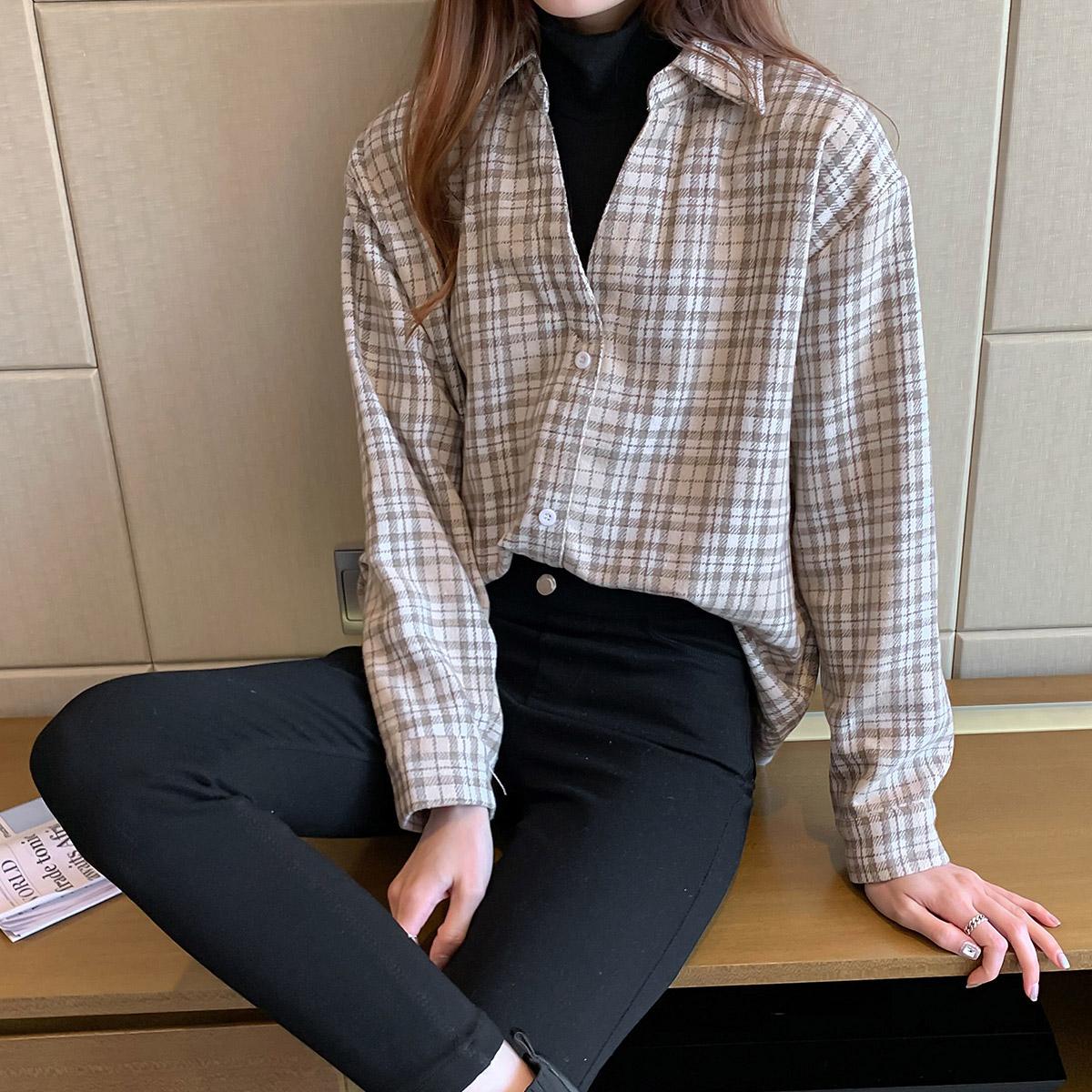实拍 格子衬衫女2021年新款复古假两件长袖加厚衬衣宽松上衣 3556