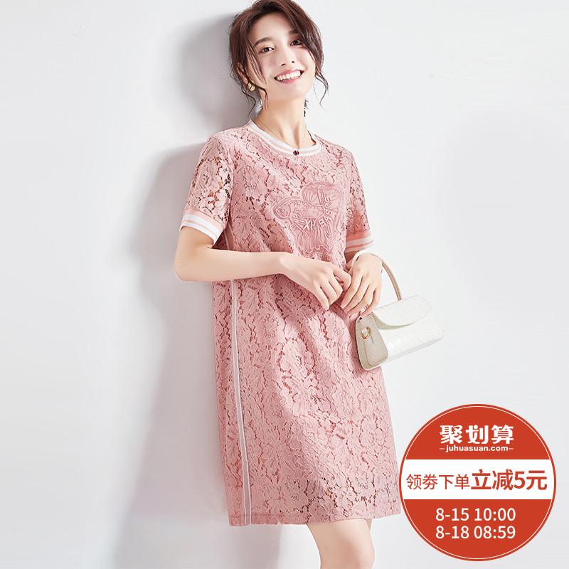 九月陌墨 2019夏季新款女短袖圆领蕾丝连衣裙 甜美淑女修身直筒裙