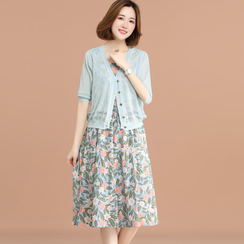 九月陌墨 2018夏季新款女装气质中长连衣裙两件套 针织开衫外套女