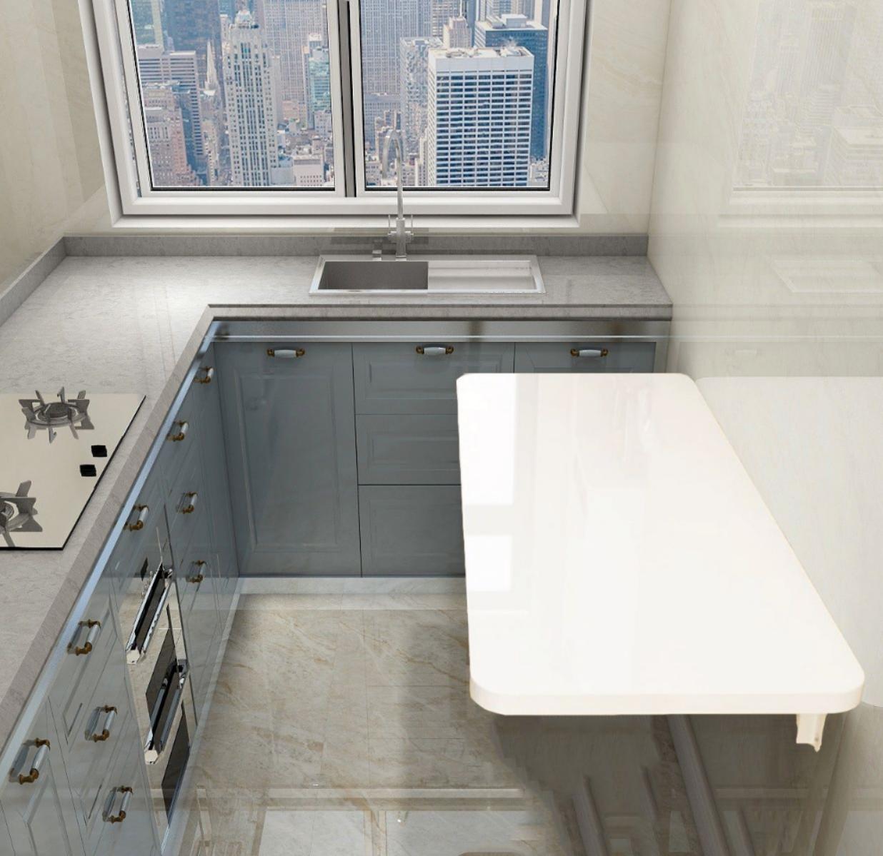 免打孔壁挂折叠桌白色烤漆厨房壁桌小户型家用餐桌隐形挂墙学习桌