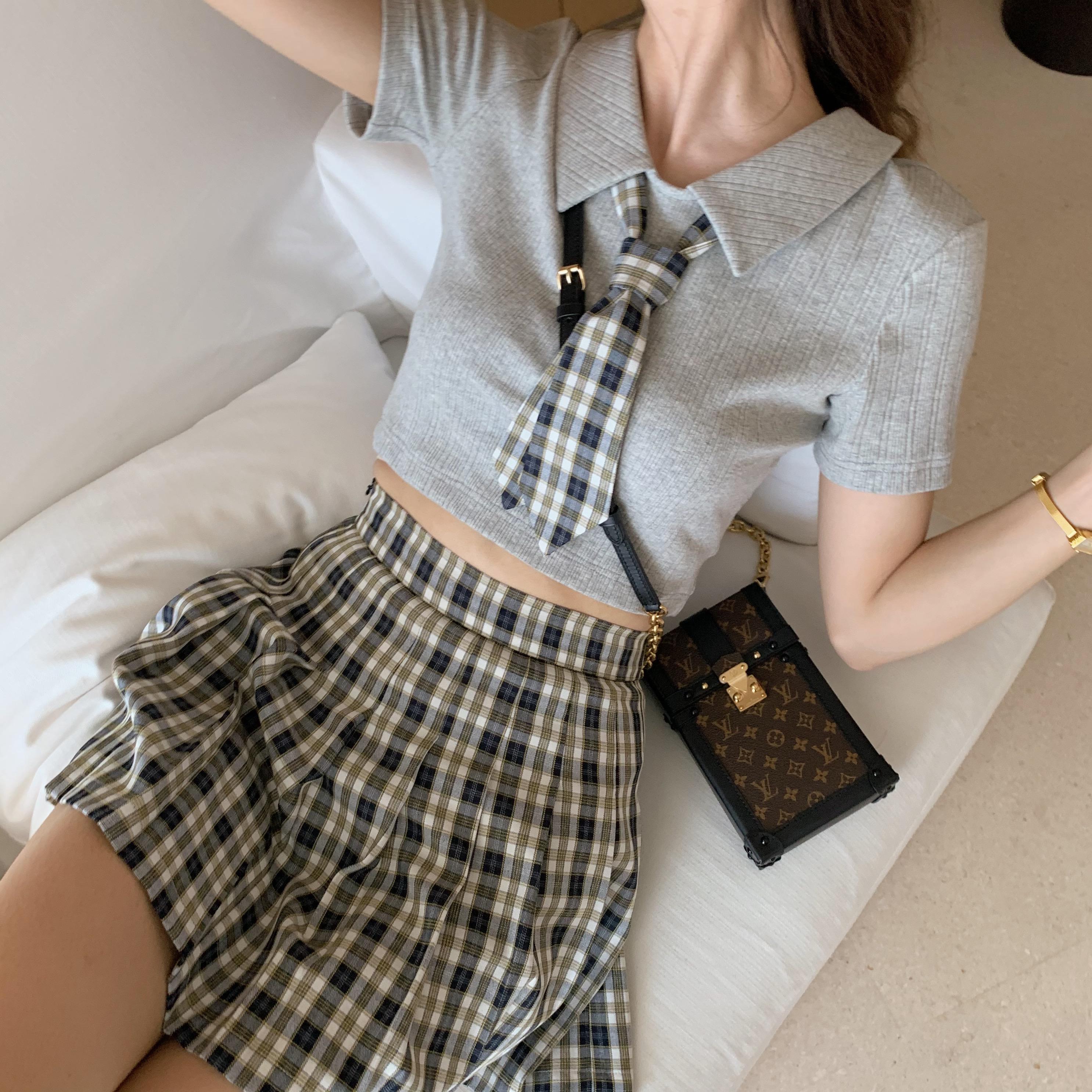 acaine学院风甜美味格纹套装可爱少女两件套夏季针织衫百褶裙套装