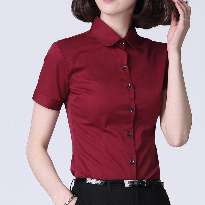 酒红纯色棉衬衫女短袖加肥加大码紧身显瘦衬衣气质淑女寸衫工作服