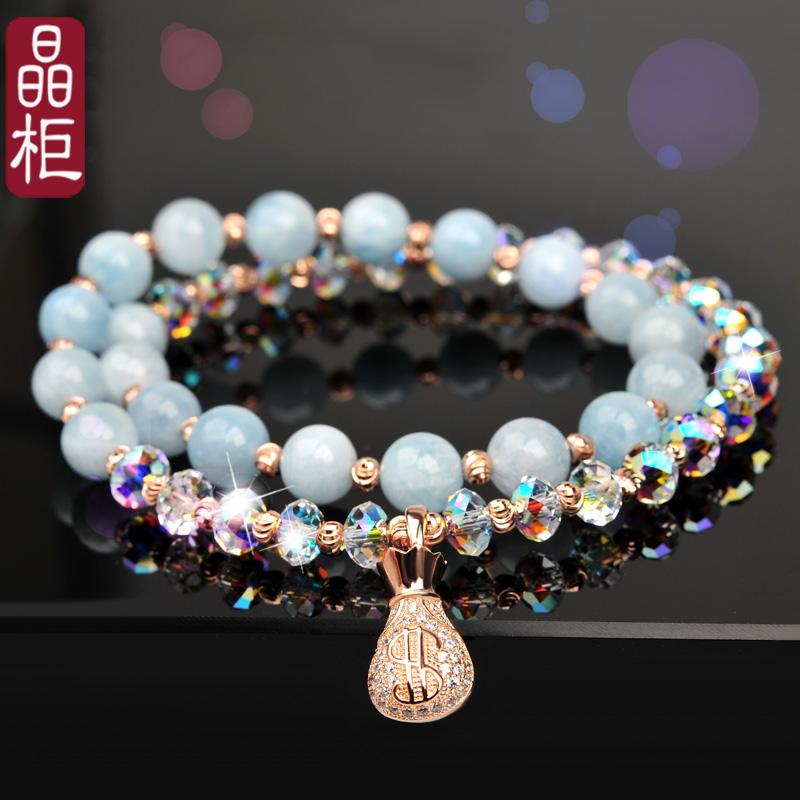 s925纯银水晶手链ins小众设计海蓝宝手串女手镯串珠首饰闺蜜礼物