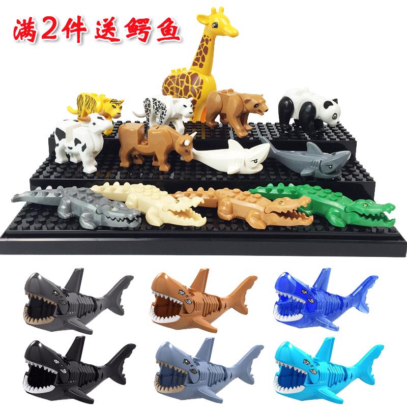 子供の益智の小さい粒はおもちゃの積み木のサメの幽霊のザメの小さい動物の積み木のキリンの乳牛のパンダをつづり合わせて詰めます。