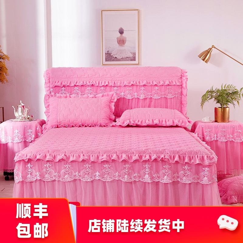 韩版公主蕾丝夹棉加厚床裙单件加棉防滑床罩床垫保护套防尘罩裙式