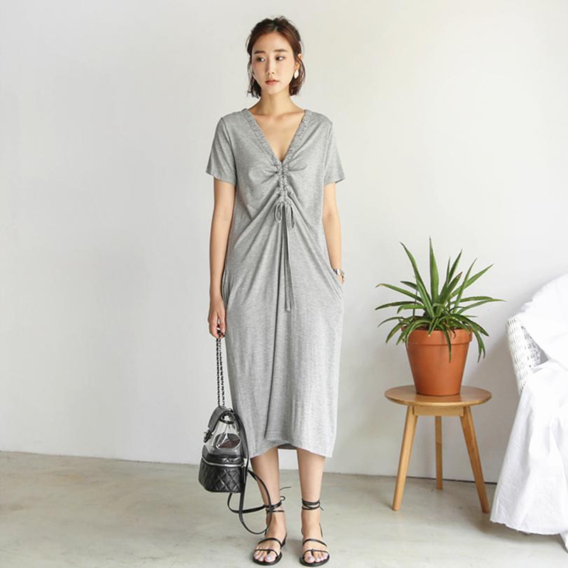 砚林春夏季新款韩版大码女装中长款连衣裙短袖莫代尔休闲长裙气质