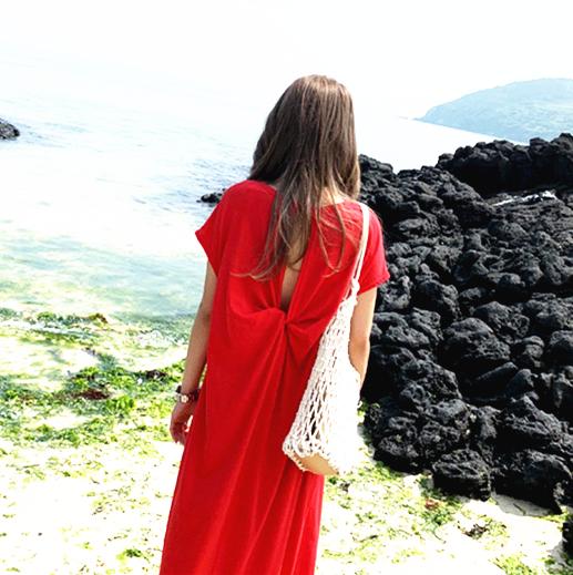 砚林2020夏季新款韩版大码莫代尔女装长款连衣裙圆领镂空开叉长裙