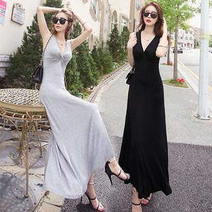 2020春夏新款韓版女裝長款連衣裙莫代爾V領無袖性感修身拖地長裙