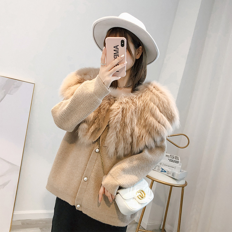 Fox fur coat womens middle long 2020 new autumn and winter loose lazy wind knitted sheep sweater cardigan fur coat
